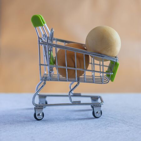 Two eggs in shopping cart. Close-up view. Price changes of eggs. Increasing or decreasing egg prices