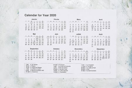 France yearly calendar paper. 2020 yearly calendar with French national holidays. View from above