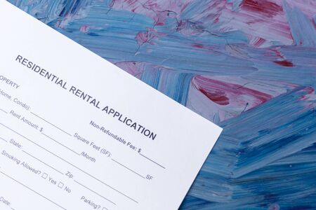 Residential rental application on the blue background.
