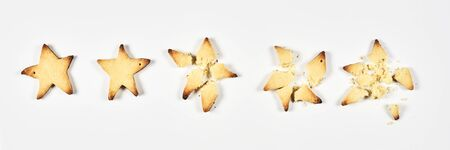 Two stars ranking. 2 baked star shape cookies Review, feedback for bakery, pastry, cafe or restaurants concepts