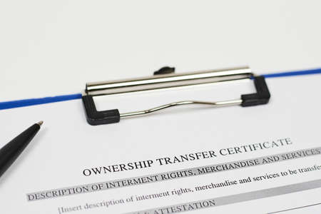 Close-up view of Ownership transfer certificate document