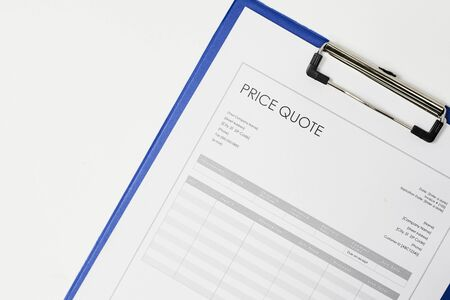 Price quote document. Close-up view of quotation. Commercial documentary