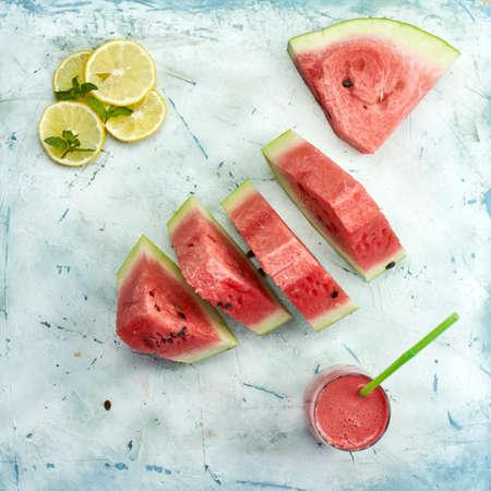Fresh summer fruits background. Sweet watermelon slices. Watermelon fruit 免版税图像