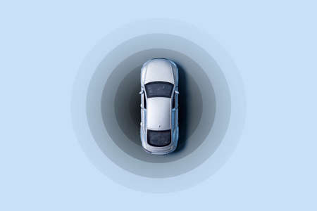 Automobile with gps tracking pulsing signal. A vehicle transmitting gps signal. Searching car location with gps tracker.