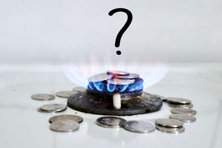 Burning flame on gas stove burner. Burning gas. Hob in the kitchen. Kitchen gas cooker with burning fire propane gas