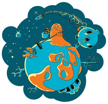 meteor: Das Alien-Monster l�scht den Planeten von einem festen Haushaltsabf�lle. Abbildung �ber Probleme der Verschmutzung von Speicherplatz  Illustration