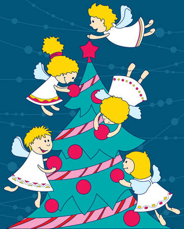 Angels decorate a Christmas tree Vector