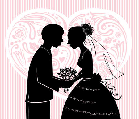 Silhouettes of the groom and the bride before a kiss Иллюстрация