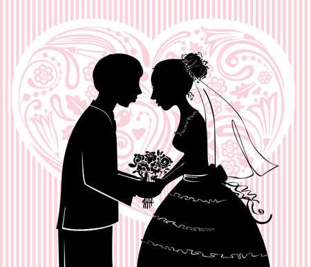 heterosexual: Siluetas de novio y la novia antes de un beso
