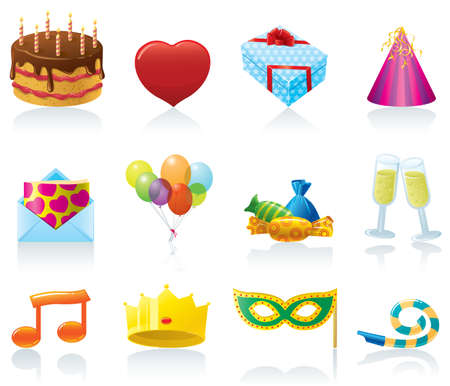 group of objects: Set of Birthday icons