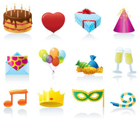 group of objects: Verjaardag pictogrammen