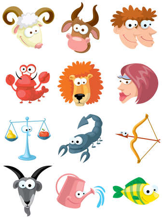 capricornio: Conjunto de s�mbolos del Zodiaco cute aislados