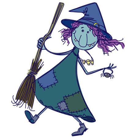 strega: Doodle divertente strega Vettoriali