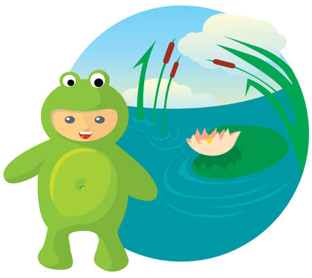 Vector illustration of cute kid wearing masquerade. frog Vector