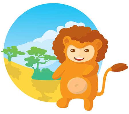 illustration of cute kid wearing masquerade.  lion Vector
