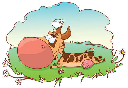 Cute cow on the meadow Stock Vector - 7247091