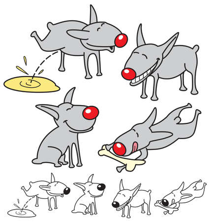 Set of cute dogs. Vector