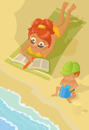 The woman with the child have a rest on a beach Vector