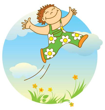 salti: sorridente ragazzino salto  Vettoriali
