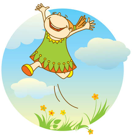 outdoor activities: smiling jumping girl Illustration