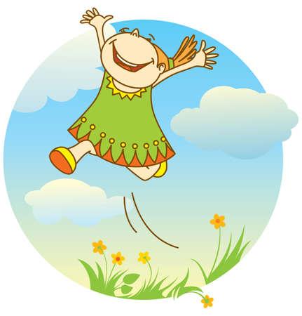 smiling jumping girl Illustration