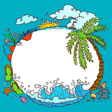Rounded summer doodle frame Stock Vector - 7255345