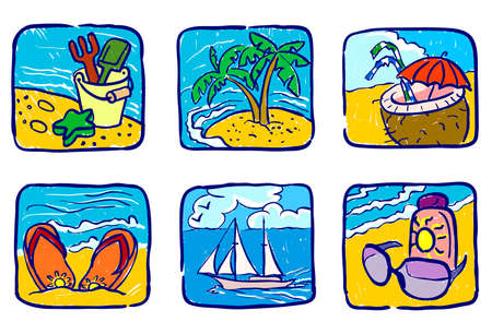 Hand-drawn summer icons set Vector
