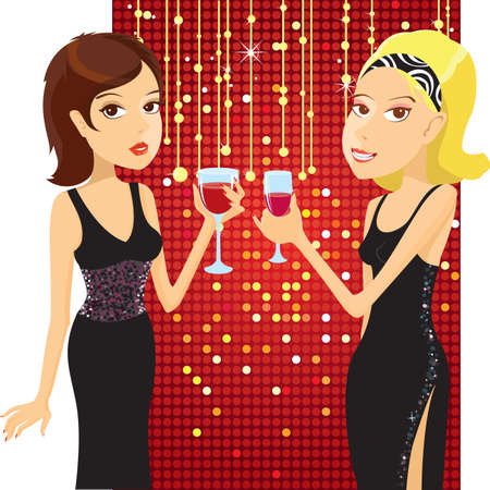 Beautiful women in small black dresses drinking cocktails. Vector