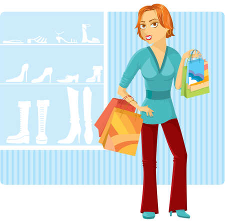 Shopping girl. Stock Vector - 7255224