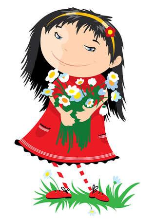 De lachende meisje met een bos van bloemen Vector Illustratie