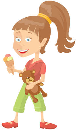 one girl only: Happy girl with icecream and teddy-bear Illustration