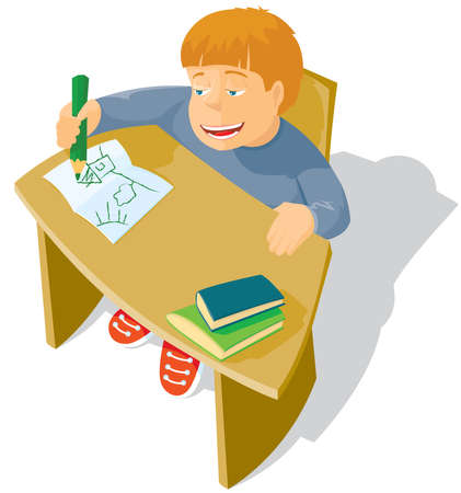 The schoolboy sits at a school desk Vector