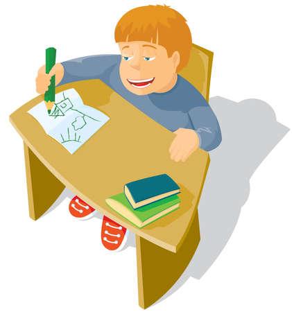 The schoolboy sits at a school desk Vector