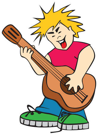 keds: The singing boy with a guitar Illustration