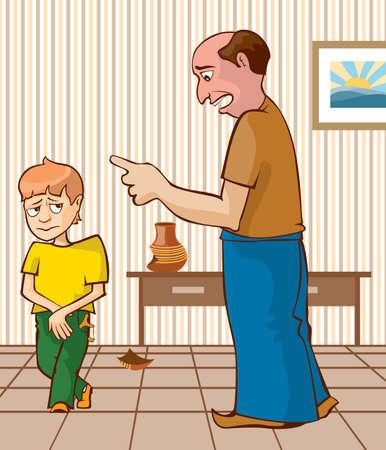 anger kid: The guilty child. Punishment for the broken vas.