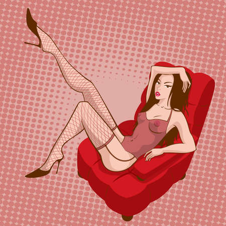 Pinup sexy girl in red armchair Vector