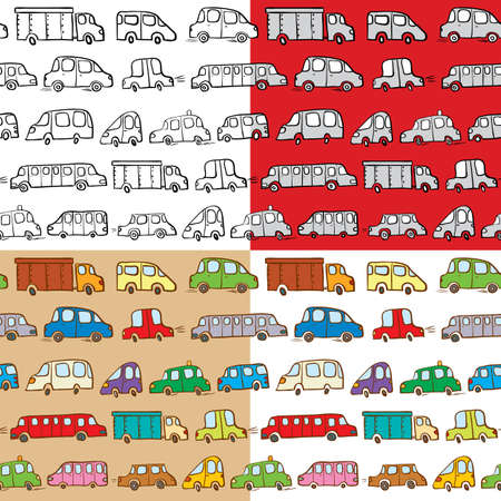 Set of cars doodles seamless