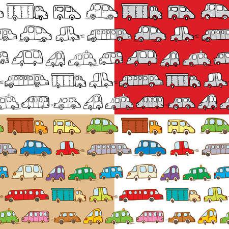 Set of cars doodles seamless