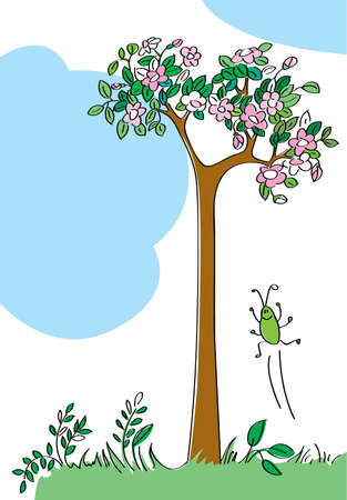 Landscape with a blossoming tree and a joyful small insect Stock Vector - 7255361