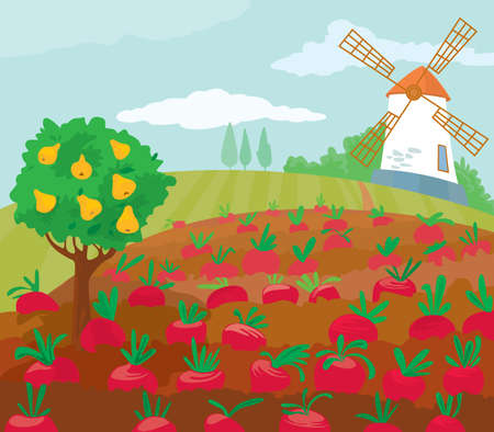 Farm with a mill. Stock Vector - 7255300