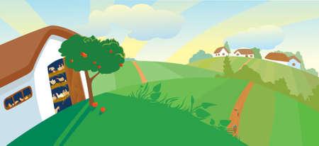 gefl�gel: Henne-Haus am Nachmittag Illustration