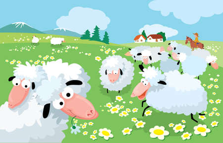 Sheep breeding in high mountains Vector