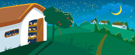 Hen house at night Vector