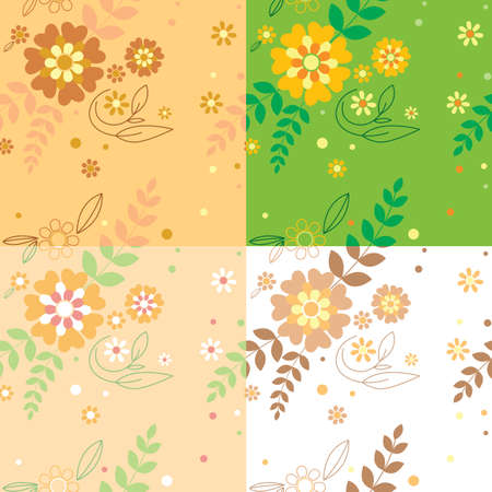 Set with 4 Floral seamless Vector