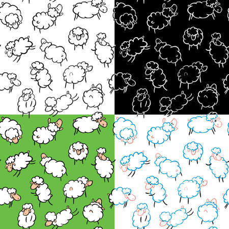Set of seamlesses with cute sheeps  Vector