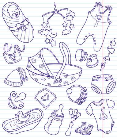 Baby doodles set, illustration Vector