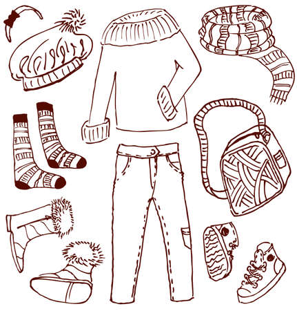 Clothes and accessories doodles (winter-autumn) Vector