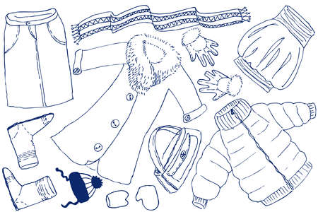 warm clothing: Clothes and accessories doodles Illustration