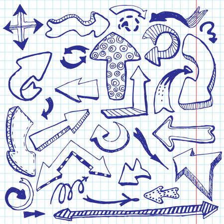 pointer stick: Arrows doodles. illustrazione