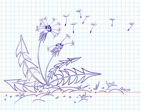 blowing wind: Doodle dandelion, line-art  illustration